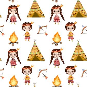 Schattige cartoon indiaanse naadloze patroon