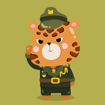 Schattige cartoon jaguar soldaat vector dierlijke illustraties