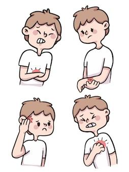 Schattige cartoon jongen gewond, pijn, gekwetst illustratie set