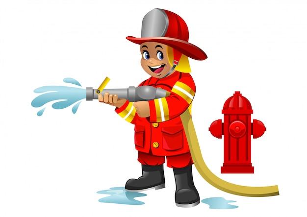 Schattige cartoon jongen van brandweerman