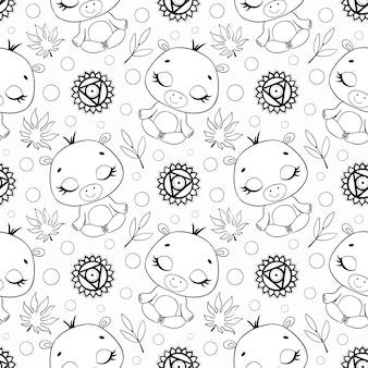 Schattige cartoon jungle dieren meditatie naadloze patroon