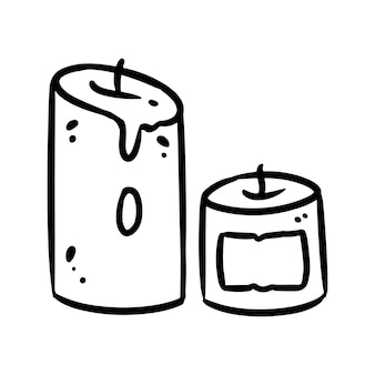 Schattige cartoon kaarsen doodle afbeelding. hygge tijd-logo. media markeert grafisch symbool