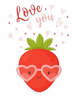 Schattige cartoon karakter aardbei bril gemaakt van harten en de letters hou van je.