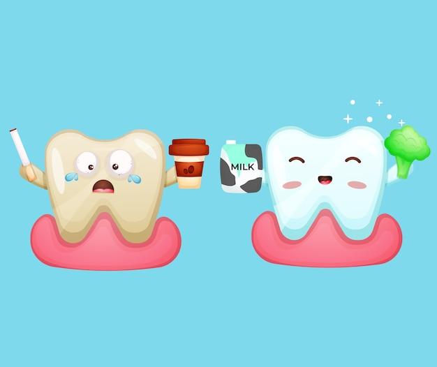 Schattige cartoon karakter ongezonde tand met koffie rook sigaret en gezonde tand