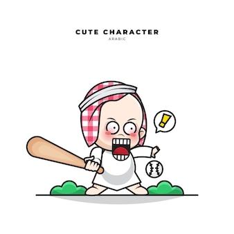 Schattige cartoon karakter van arabische baby honkbal spelen