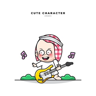 Schattige cartoon karakter van arabische baby speelt gitaar