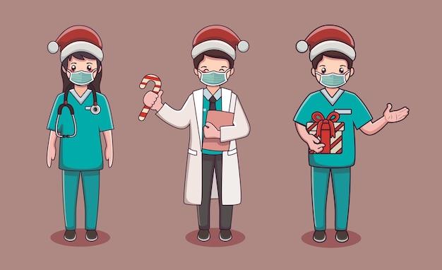 Schattige cartoon karakter van arts en verpleegkundige kerst kostuum en medisch masker dragen