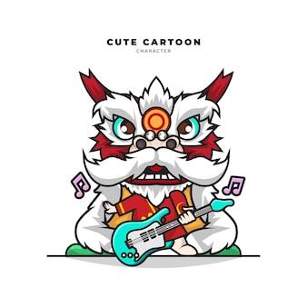 Schattige cartoon karakter van de leeuwendans speelt gitaar
