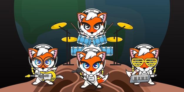 Schattige cartoon karakter van fox astronaut speelt muziek in een bandgroep