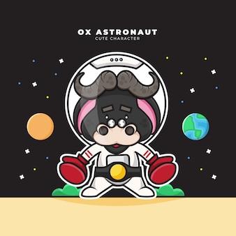 Schattige cartoon karakter van ox astronaut draagt bokshandschoenen en bokskampioen riem