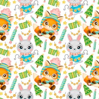 Schattige cartoon kerst dieren naadloze patroon. kerst vos en konijn patroon.