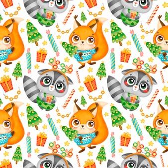Schattige cartoon kerst dieren naadloze patroon. kerst wasbeer en eekhoorn patroon.
