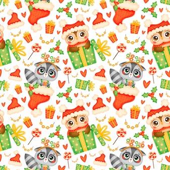 Schattige cartoon kerst dieren naadloze patroon. kerst wasbeer en uil patroon.