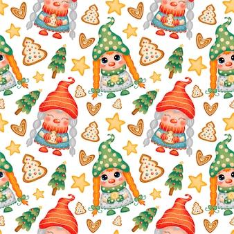 Schattige cartoon kerst kabouters meisjes naadloze patroon