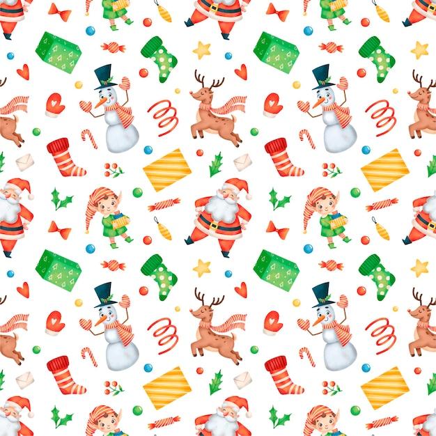 Schattige cartoon kerst santa claus elfen, sneeuwpop, rendieren naadloos patroon