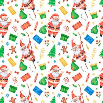 Schattige cartoon kerst santa claus naadloze patroon