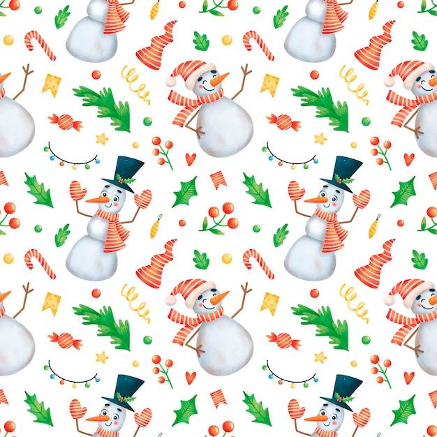 Schattige cartoon kerst sneeuwpop naadloze patroon
