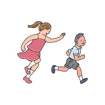 Schattige cartoon kinderen rennen rond - kleine jongen en meisje lachen en spelen vangen en rennen. kind broers en zussen of vrienden die plezier hebben -