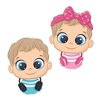 Schattige cartoon klein meisje en jongen met koptelefoon luisteren naar muziek