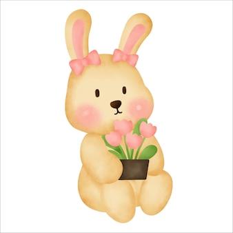 Schattige cartoon konijn aquarel hand tekenen illustratie
