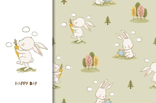 Schattige cartoon konijn karakter met de wortel, illustratie en naadloze patroon