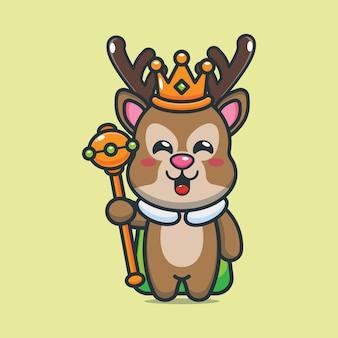 Schattige cartoon koning herten vectorillustratie