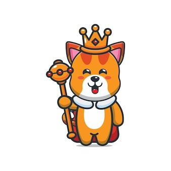 Schattige cartoon koning kat vectorillustratie