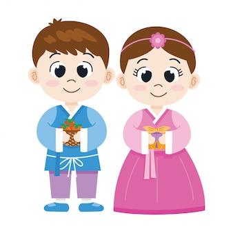 Schattige cartoon koreaanse jongen en meisje in klederdracht, illustrationt