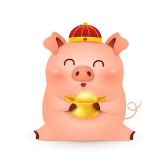 Schattige cartoon little pig characterdesign met traditionele chinese rode hoed en chinese goudstaaf houden die op witte achtergrond wordt geïsoleerd. het jaar van het varken. dierenriem van het varken.