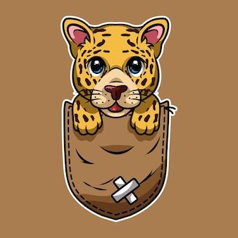 Schattige cartoon luipaard in zak