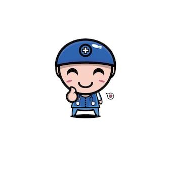 Schattige cartoon mannelijke verpleegster karakter beroep in kliniek