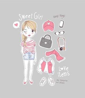 Schattige cartoon meisje met meisje items illustratie
