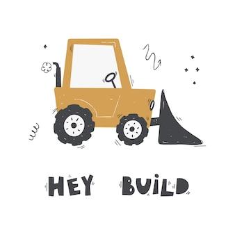 Schattige cartoon mixer truck met belettering piep piep vector handgetekende kleur kinderillustratie