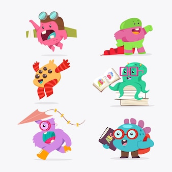 Schattige cartoon monster babyset. vector grappig schepsel plat karakter geïsoleerd.