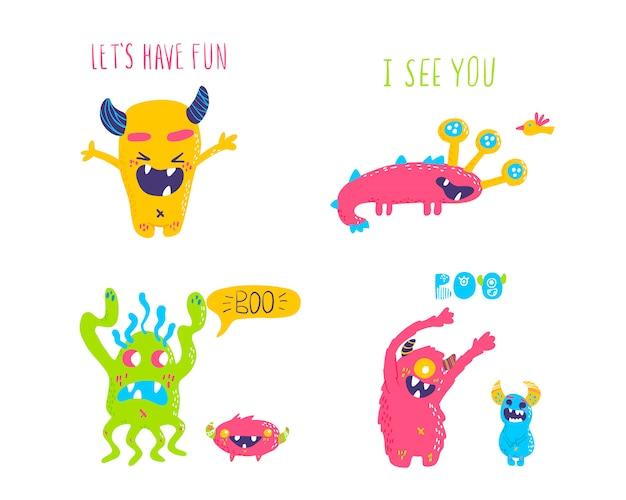 Schattige cartoon monsters monsters