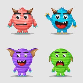 Schattige cartoon monsters ontwerpen