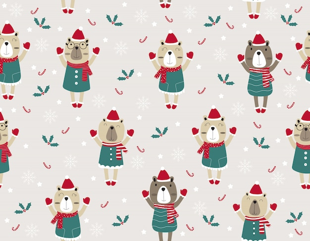 Schattige cartoon naadloze patroon dier. kerstmisillustratie met grappige beren.