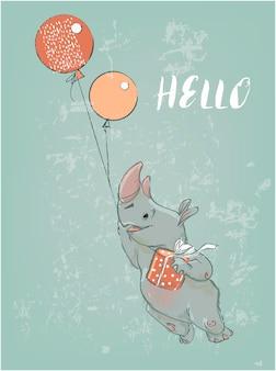 Schattige cartoon neushoorn met ballonnen