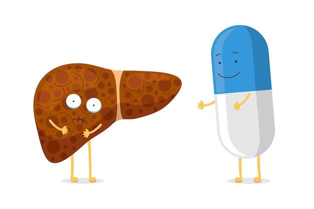 Schattige cartoon ongezonde menselijke leverziekte pijn emotie karakter met lachende geneeskunde drug tablet pil. gezondheidszorg medische vrienden. vector ziekte zieke omkeerbare exocriene klier orgel illustratie