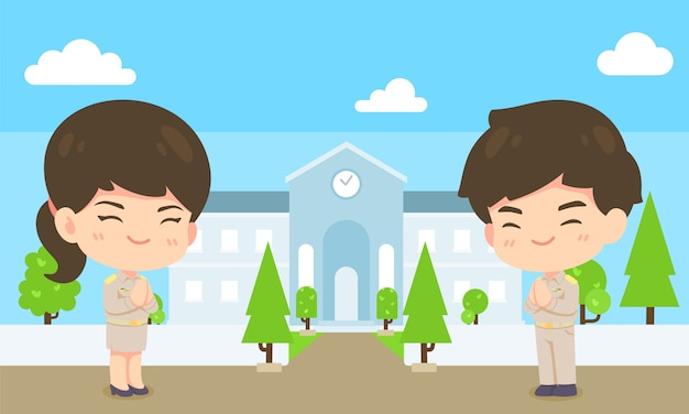 Schattige cartoon overheidswerknemer, kawaii man en vrouw mascotte karakter