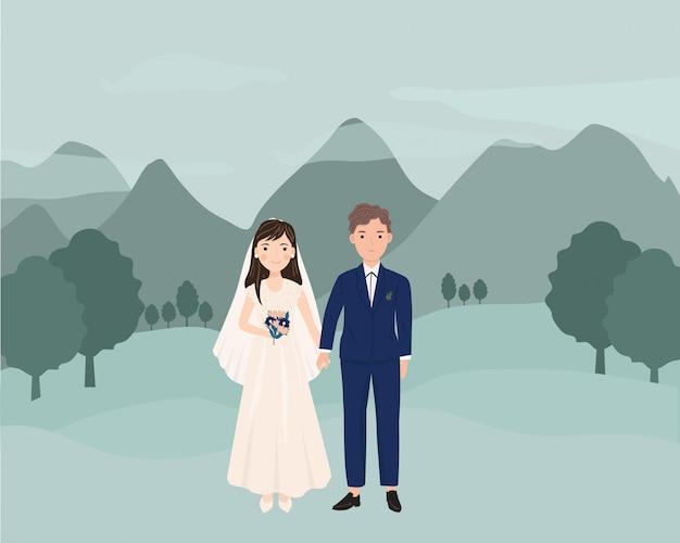 Schattige cartoon paar bruid en bruidegom
