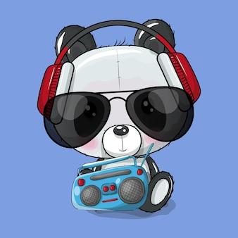 Schattige cartoon panda luisteren muziek vectorillustratie