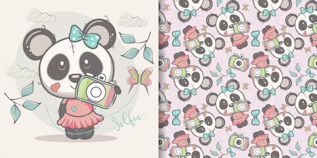 Schattige cartoon panda meisje met naadloze patroon