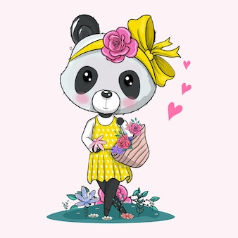 Schattige cartoon panda met bandana en bloemen vectorillustratie