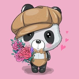 Schattige cartoon panda met pet en bloemen vectorillustratie