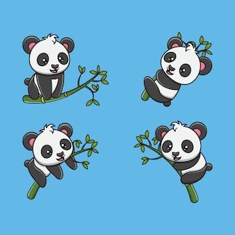 Schattige cartoon panda opknoping op bamboe illustratie