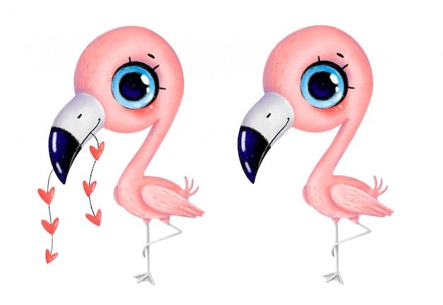 Schattige cartoon pastel kleine flamingo met hartjes staat op één been. grillige hand getrokken famingo geïsoleerd op een witte achtergrond