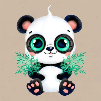 Schattige cartoon pastel kleine panda met bamboe bladeren