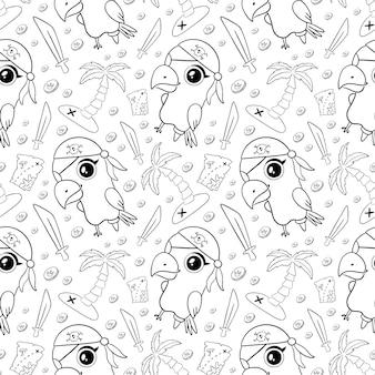 Schattige cartoon piraten dieren naadloze patroon. doodle papegaai piraat patroon. piratenpapegaai kleurplaat