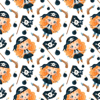 Schattige cartoon piraten meisjes naadloze patroon